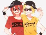 2boys baseball_cap blonde_hair boku_no_hero_academia hand_on_hip hat kaminari_denki kirishima_eijirou male_focus multiple_boys redhead shirt sideways_hat smile sunglasses t-shirt upper_body wristband