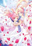 2girls :d bishoujo_senshi_sailor_moon blonde_hair blue_background blue_eyes chibi_usa cowboy_shot crescent double_bun dress earrings facial_mark forehead_mark full_moon hair_ornament hairpin highres jewelry looking_at_viewer moon multiple_girls open_mouth petals pink_eyes pink_hair princess_serenity punano short_hair signature small_lady_serenity smile tsukino_usagi twintails white_dress white_wings wings