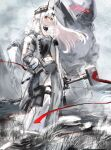 1girl alternate_costume arknights closed_mouth demon_girl demon_horns hair_ornament hairclip highres horns infection_monitor_(arknights) jacket long_hair mudrock_(arknights) mudrock_colossus_(arknights) nanaponi navel pointy_ears red_eyes silver_hair solo war_hammer weapon