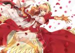 1girl :d absurdres blonde_hair breasts cleavage dress fate/extra fate/grand_order fate_(series) gauntlets greaves green_eyes highres holding holding_sword holding_weapon laurel_crown open_mouth outstretched_arms petals saber_extra see-through smile solo sword teeth wachiroku_(masakiegawa86) weapon