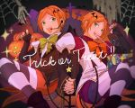 2boys aoi_hinata aoi_yuuta brothers candy chocolate chocolate_bar demon_tail eating ensemble_stars! green_eyes halloween headset highres holding_hands jack-o'-lantern jar juliet_sleeves lollipop long_sleeves looking_at_viewer male_focus multiple_boys orange_hair puffy_sleeves siblings silk spider_web striped striped_legwear tail twins