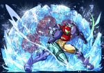 1girl alien arm_cannon armor clenched_hand female frozen full_armor gravity_suit ice metroid metroid_(creature) nomayo power_armor power_suit samus_aran shattering shoulder_pads steam weapon
