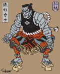 1boy artist_name black_hair blank_eyes colossus_(x-men) deadpool_(movie) fine_art_parody frown geta jpeg_artifacts male_focus nihonga parody sleeveless solo sumo takumi_(marlboro)