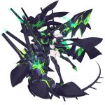 1girl ass bare_shoulders black_legwear cannon claws enemy_bismarck_(zhan_jian_shao_nyu) full_body gauntlets glowing green_eyes hair_over_one_eye high_heels horns leaning_back legs_apart looking_at_viewer looking_back mouth ntrsis official_art outstretched_arm pale_skin reaching see-through single_gauntlet smile solo spikes standing tail thigh-highs transparent_background white_hair zhan_jian_shao_nyu