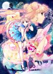 2016 2girls bishoujo_senshi_sailor_moon black_shoes blonde_hair blue_eyes blue_skirt bow brooch cat chiba_mamoru crescent crescent_earrings dated double_bun dual_persona earrings elbow_gloves full_moon gloves hair_ornament hairpin jewelry long_hair luna_(sailor_moon) magical_girl moon multiple_girls petals pink_bow pleated_skirt red_bow sailor_moon school_uniform serafuku shoes skirt smile socks t_growing tsukino_usagi tuxedo_kamen twintails twitter_username white_gloves