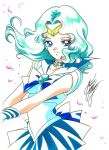 1girl aqua_hair bishoujo_senshi_sailor_moon blue_bow blue_eyes blue_skirt bow brooch choker cowboy_shot jewelry kaiou_michiru looking_at_viewer magical_girl marco_albiero marker_(medium) petals pleated_skirt sailor_collar sailor_neptune short_hair signature skirt smile solo tiara traditional_media white_background