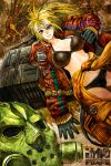 1boy 1girl 2015 bangs black_bra black_gloves black_panties blonde_hair blue_eyes bra breasts caiman character_name clothes_around_waist clothes_writing copyright_name cowboy_shot dated dorohedoro dutch_angle gas_mask gibagiba gloves hair_between_eyes jacket large_breasts leather leather_gloves long_hair long_sleeves looking_at_viewer mask nikaido open_clothes open_jacket over_shoulder panties ponytail smile stitches striped teeth underwear unzipped vertical_stripes