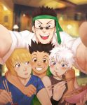 4boys arm_around_neck bandaid bandaid_on_nose blonde_hair blue_eyes bowl brown_eyes brown_hair chopsticks eating eunnieboo food food_in_mouth food_on_face gon_freecss grin highres hunter_x_hunter killua_zoldyck kurapika leorio_paladiknight male_focus multiple_boys necktie necktie_on_head noodles open_mouth room self_shot smile spiky_hair sunglasses white_hair