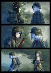 2girls 3koma backlighting backpack bag comic commentary dirty_face erica_(naze1940) essenbehalter expressionless food gun helmet highres load_bearing_equipment m1_carbine md5_mismatch mess_kit military military_uniform multiple_girls original rifle shocked_eyes soldier soup steam sunrise surprised uniform walking weapon world_war_ii
