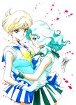 2girls aqua_hair bishoujo_senshi_sailor_moon blonde_hair blue_bow blue_eyes blue_skirt bow brooch choker green_skirt highres jewelry kaiou_michiru looking_at_viewer magical_girl marco_albiero marker_(medium) multiple_girls outer_senshi petals pleated_skirt profile sailor_collar sailor_neptune sailor_senshi sailor_uranus short_hair signature skirt smile ten'ou_haruka tiara traditional_media white_background yellow_bow