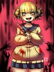 1girl blonde_hair blood blood_stain bloody_clothes bloody_weapon boku_no_hero_academia boxcutter kenron_toqueen looking_at_viewer open_mouth sailor_collar school_uniform skirt solo toga_himiko tongue tongue_out weapon