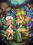 2girls apple black_shoes blonde_hair blush braid breasts cleavage clenched_hand closed_mouth dress eating elfaria_(odin_sphere) fairy fairy_wings flower food fruit full_body grapes green_dress hair_flower hair_ornament high_heels highres long_hair long_sleeves looking_at_another mercedes mother_and_daughter multiple_girls mushroom nut_(food) odin_sphere plant puffy_sleeves red_eyes shigatake shoes side_slit sitting twin_braids white_shoes wings