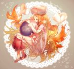 1girl artist_name blonde_hair blush cattleya_(pokemon) closed_eyes english from_side full_body grey_background hat heart interlocked_fingers lace_background long_hair long_sleeves musharna namie-kun number open_mouth own_hands_together pokemon profile red_shoes shoes very_long_hair white_hat