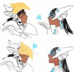 2girls 2koma black_hair blown_kiss blush comic dark_skin eye_of_horus headgear hologram laughing long_hair multiple_girls overwatch pharah_(overwatch) pydiyudie rejection sketch symmetra_(overwatch) very_dark_skin visor yuri