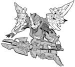1girl arcee autobot breasts greyscale kamizono_(spookyhouse) machine machinery mecha mechanical_wings monochrome no_humans robot science_fiction smile solo sword transformers transformers_prime weapon wings