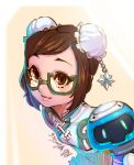 1girl alternate_hairstyle bangs beads blue_dress brown_eyes brown_hair bun_cover china_dress chinese_clothes commentary donghyun_shin double_bun dress drone floating green-framed_eyewear hair_ornament highres looking_at_viewer mei_(overwatch) overwatch parted_bangs robot short_hair short_sleeves snowflake_hair_ornament solo swept_bangs younger