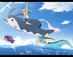 1girl :d aqua_hair blue_sky clouds danzilla denim denim_shorts flying hat highres mantine midriff mouth_hold navel ocean open_mouth outdoors pokemon pokemon_(creature) remoraid shell shellder shorts sky smile swimming vaporeon wingull