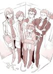 5boys :3 elevator from_above gakuran glasses glasses_on_head hands_in_pockets idolmaster idolmaster_side-m jumpsuit koron_chris kurono_genbu kuzunoha_amehiko labcoat long_hair male_focus monochrome multiple_boys polka_dot_necktie scar school_uniform shirt striped striped_shirt tori_(driftwood) wetsuit yamamura_ken yamashita_jirou