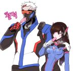 1boy 1girl bodysuit breasts brown_eyes brown_hair bunny_print covered_mouth cowboy_shot d.va_(overwatch) eating face_mask facepaint facial_mark food gloves headphones height_difference high_collar holding ice_cream jacket long_hair long_sleeves mask medium_breasts mouth_hold overwatch pants pauldrons pilot_suit popsicle rabbit red_gloves scar short_hair shoulder_pads simple_background soldier:_76_(overwatch) turtleneck visor whisker_markings white_background white_gloves white_hair you're_doing_it_wrong
