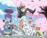 1boy 1girl banette bare_shoulders bellossom belt black_shoes blue_sky breasts carrying cherry_blossoms choker closed_eyes clouds danzilla dark_skin formal gardevoir head_wreath large_breasts long_hair lopunny mismagius nidoqueen one_eye_closed open_mouth outdoors petals pink_hair pink_sclera pokemon pokemon_(creature) princess_carry purple_hair red_eyes shoes size_difference sky tears tree veil walking white_flowers white_hair white_shoes yellow_eyes