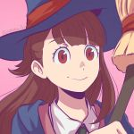 1girl akko_kagari broom brown_hair hat koyorin little_witch_academia red_eyes solo_focus witch_hat