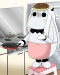 (o)_(o) apron comic commentary cooking food food_on_face food_on_head frying_pan full_body horns jewelry kantai_collection kitchen long_hair mittens moomin moomintroll muppo northern_ocean_hime object_on_head okonomiyaki refrigerator revision sazanami_konami shinkaisei-kan standing standing_on_object step stool stove translated