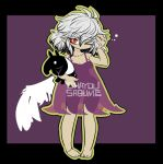 1girl baku_(creature) breasts claws commentary_request doremy_sweet doremy_sweet_(baku) full_body highres hips holding kishin_sagume no_shoes one_eye_closed see-through silver_hair simple_background sleepy solo touhou underwear wings yt_(wai-tei)
