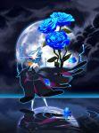 alternate_color blue_rose flower gardevoir highres mega_gardevoir mega_pokemon moon night night_sky no_humans petals pokemon reflection rose shiny_pokemon sky solo standing standing_on_liquid tm_(hanamakisan)