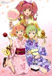 3girls :d absurdres bangs blonde_hair blue_eyes bracelet breasts candy_apple cleavage collarbone copyright_name cotton_candy floral_print food freyja_wion full_body green_eyes green_hair green_nails hair_ornament hair_ribbon hairclip hand_on_another's_shoulder heart_hair_ornament highres holding japanese_clothes jewelry kimono kinchaku kneeling long_hair looking_at_viewer macross macross_delta makina_nakajima multicolored_hair multiple_girls nail_polish obi official_art one_side_up open_mouth orange_eyes orange_hair pink_nails pointy_ears purple_nails redhead reina_prowler ribbon sandals sash scan shirakawa_ayako short_hair sitting smile squid star sunflower_print toenail_polish tsumami_kanzashi two-tone_hair yokozuwari yukata