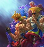 2girls 4boys alex_(street_fighter) arm_guards biceps black_hair blonde_hair boxing_gloves capcom dark_skin eyebrows eyepatch fighting_stance fingerless_gloves forehead_jewel formal gloves guile han_juri headband highres hood ibuki_(street_fighter) kunai m_bison military military_uniform multiple_boys multiple_girls muscle pnzrk ponytail school_uniform shirtless sleeves_rolled_up street_fighter street_fighter_v suit sunglasses suspenders thick_eyebrows uniform urien weapon white_hair