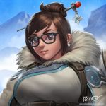 1girl artist_name black-framed_eyewear blue_sky breasts brown_eyes brown_hair closed_mouth day dcwj earrings fur_collar fur_trim glint hair_bun hair_ornament hair_stick jewelry large_breasts looking_at_viewer mei_(overwatch) mountain overwatch red_lips short_hair signature sky smile snowing solo upper_body watermark web_address