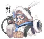 +_+ 1girl backpack bag blush coat cosplay gloves goggles gun hibanar holding holding_gun holding_weapon kaburi_chiko looking_at_viewer mei_(overwatch) mei_(overwatch)_(cosplay) open_mouth original overwatch red_eyes silver_hair simple_background solo symbol-shaped_pupils translation_request weapon white_background winter_clothes