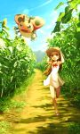 1girl armpits arms_up bare_shoulders bow bowtie brown_eyes brown_hair brown_hat collarbone dress field flower flower_field full_body green_eyes gym_leader hat holding holding_hat ledyba light_rays long_hair mikan_(pokemon) no_legwear path plant pokemon pokemon_(creature) pokemon_(game) pokemon_hgss red_bow red_bowtie ribero road running sandals sleeveless sleeveless_dress summer sundress sunflower sunlight younger
