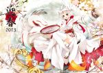 amaterasu animal_ears facial_mark japanese_clothes kimono long_hair okami personification thigh-highs white_hair wolf_ears wolf_tail yellow_eyes