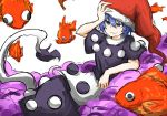 blue_eyes blue_hair commentary_request doremy_sweet dream_soul fish goldfish hat kan_(aaaaari35) lying nightcap pom_pom_(clothes) short_hair smile solo tail tapir_tail touhou white_background