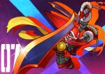 blue_eyes brandish_(mighty_no._9) cape kin_niku mighty_no._7 mighty_no._9 no_humans robot sword weapon