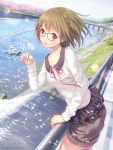 braid bridge brown_eyes brown_hair cherry_blossoms dandelion_seed glasses mana_kakkowarai original river short_hair shorts skirt tree water waterfall
