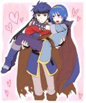blue_hair blush cape carrying couple fire_emblem fire_emblem:_monshou_no_nazo fire_emblem:_souen_no_kiseki fire_emblem_mystery_of_the_emblem fire_emblem_path_of_radiance gloves headband heart ike jpeg_artifacts marth princess_carry super_smash_bros. tiara yaoi