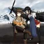 2girls aircraft anabuki_tomoko apron black_hair blue_eyes book boots brown_hair chair cigarette commentary elizabeth_f_beurling endlessgr8 grey_eyes hand_on_hip highres holding_another's_hair hurricane_(airplane) japanese_clothes multiple_girls open_mouth outdoors pantyhose scissors shadow silhouette_demon sitting smoking snow standing strike_witches