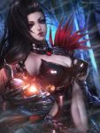 1girl artist_name black_gloves black_hair blade_&_soul breasts cleavage gloves highres long_hair mole navel ran_yu_(blade_and_soul) red_eyes rena_illusion solo