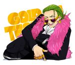 1boy blue_eyes earrings feather_boa formal gild_tesoro green_hair highres jewelry male_focus nbk_(yamazakinobeko) one_eye_closed one_piece one_piece_film_gold open_mouth ring simple_background solo star suit sunglasses teeth white_background