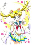 1girl bishoujo_senshi_sailor_moon blonde_hair blue_eyes bow brooch choker cowboy_shot crescent crescent_earrings double_bun earrings elbow_gloves gloves hair_ornament hairpin jewelry long_hair looking_at_viewer magical_girl marco_albiero marker_(medium) petals pleated_skirt red_bow sailor_collar sailor_moon signature skirt smile solo super_sailor_moon tiara traditional_media tsukino_usagi twintails white_background white_gloves