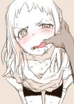 1girl bike_shorts blush character_request copyright_request d:< dark_skinned_male looking_at_viewer nametake pale_skin pov saliva sketch solo_focus tearing_up