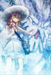 1girl abomasnow artist_request bag bangs blonde_hair blue_eyes blunt_bangs dress green_eyes highres lillie_(pokemon) long_hair mega_abomasnow mega_pokemon open_mouth outdoors outstretched_hand pantyhose pokemon pokemon_(creature) pokemon_(game) pokemon_sm shoulder_bag standing white_dress white_hair white_legwear