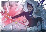 1boy armor blue_hair cape cu_chulainn_(fate/grand_order) fate/grand_order fate_(series) gae_bolg hood lancer long_hair polearm red_eyes smile solo spear staff transforming_clothes weapon