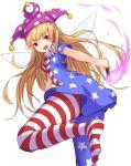 +5cm 1girl american_flag_dress american_flag_legwear blonde_hair clownpiece dress fairy_wings fang hat highres jester_cap long_hair neck_ruff open_mouth red_eyes short_dress short_sleeves torch touhou very_long_hair wings