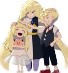 1boy 2girls ^_^ bangs black_pants black_vest blonde_hair blunt_bangs blush_stickers child clefairy closed_eyes diamond diamond_(symbol) dress family family_portrait full_body gladio_(pokemon) gonzarez green_eyes grin hand_on_hip happy hug kneeling legs light_smile lillie_(pokemon) loli long_hair lusamine_(pokemon) mother_and_child mother_and_daughter mother_and_son multicolored_dress multiple_girls nintendo open_mouth pants petting pokemon pokemon_(game) pokemon_sm red_shoes see-through shirt shoes short_sleeves simple_background sleeveless sleeveless_dress smile standing stuffed_toy teeth very_long_hair vest white_background white_dress white_shoes younger