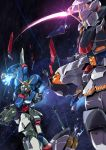 battle broken commentary_request damaged destiny_gundam energy_sword glowing glowing_eyes green_eyes gundam gundam_seed gundam_seed_destiny holding holding_sword holding_weapon joints mecha no_humans official_style sakusakusakurai science_fiction sky space star_(sky) starry_sky strike_freedom_gundam sword weapon what_if yellow_eyes