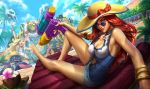 2boys 2girls armlet barefoot blitzcrank blonde_hair blue_eyes bracelet breasts cellphone cleavage cleavage_cutout curly_hair dr._mundo feather_boa grey_eyes hairband hat heart-shaped_sunglasses jewelry large_breasts league_of_legends lee_sin lifebuoy long_hair long_tongue looking_at_viewer looking_back luxanna_crownguard multiple_boys multiple_girls official_art one-piece_swimsuit palm_tree phone pool pool_party_miss_fortune purple_skin redhead robot sarah_fortune sitting smartphone straw_hat sun_hat super_soaker swimsuit tongue tongue_out tree water_gun