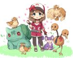 1girl 7010 baseball_cap black_gloves blue_eyes blush brown_hair bulbasaur choker doduo female_protagonist_(pokemon_go) female_protagonist_(pokemon_go)_(cosplay) fingerless_gloves gloves hat heart idolmaster idolmaster_cinderella_girls looking_at_viewer open_mouth pidgey poke_ball pokemon pokemon_(creature) pokemon_go rattata sakuma_mayu short_hair simple_background smile